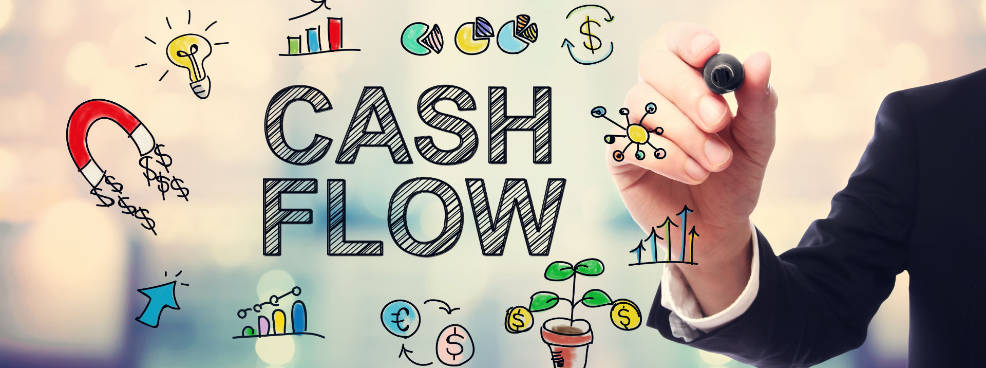 Cash flow infographic with man drawing